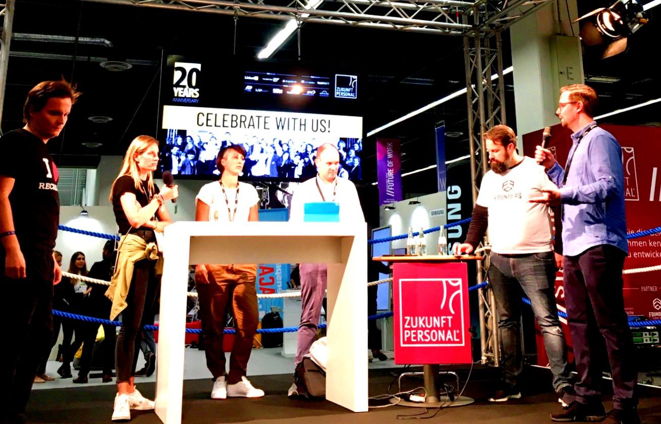 Jobufo-Gründer Thomas Paucker beim Founder's Fight  auf der Zukunft Personal Europe 2019